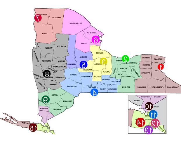 Regional Map of the Attorney General Offices across New York State; Including Binghamton, Brooklyn, Buffalo, Harlem, Nassau, Plattsburgh, Poughkeepsie, Rochester, Suffolk, Syracuse, Utica, Watertown and Westchester