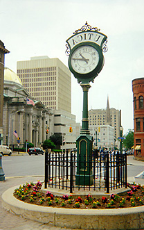 Decorative clock on located Genesee Street in Utica, New York